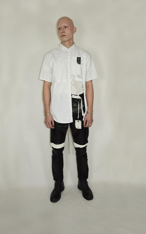 Chemise ajourée blanche